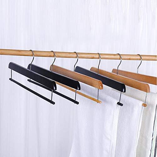 MissZZ Appendiabiti, 10 Pezzi/Lotto Pantaloni in Legno di Colore Nero Naturale Pantaloni Appendiabiti con Barra Trasversale, Appendiabiti per Hotel Sciarpa Appendiabiti, B