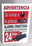 Marina Signboards Cartel Metal indeformable 30x20 cm Advertencia Alarma Conectada grabación de Cámaras de Vídeo 24 Horas Aviso o Llamada a Policía