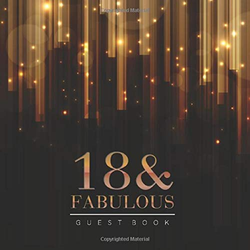 18th Birthday Guest Book: Elegant Golden Bars Style Title & Welcome Page Space for a Photo Wishes & Messages Notes & Photos Gift Log 8.5' x 8.5' (21,6 x 21,6 cm) 120 Pages Cream Paper Glossy Cover