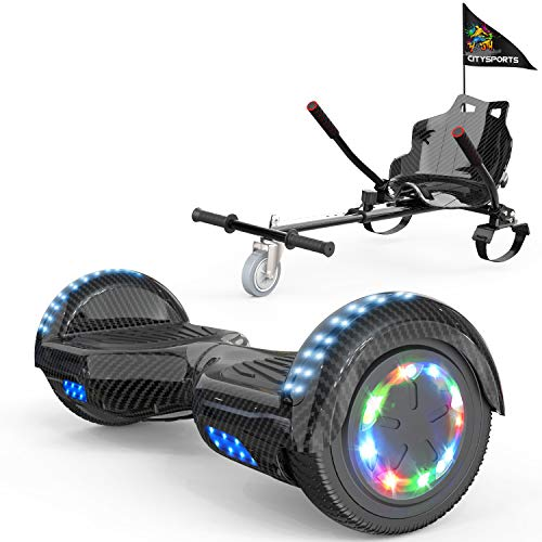 COLORWAY Hoverboard Hover Scooter Board 6,5' con Asiento Kart con Ruedas de Flash LED, Patinete Eléctrico Altavoz Bluetooth y LED, Autoequilibrio de Scooter Eléctrico (Carbon-Carbon)
