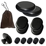 Bestnewie Massage Hot Stones with Mushroom Shaped Massage Guasha Tool, 12 pcs in Total, Hot Stone Massage Kit, Hot Stone Massage,Basalt Hot Rocks for Spa, Massage Therapy, Storage Velvet Bag Included