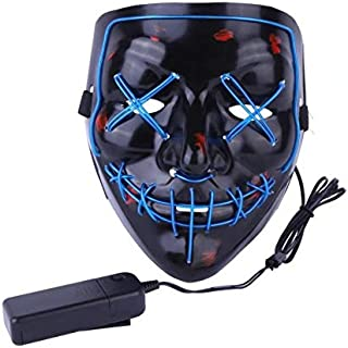 Halloween Stuff,Halloween LED Mask Cosplay Costume Scary Mask for Festive Party Masquerade Halloween Parties Carnival Light Up Masks for Men Women Kids -Blue