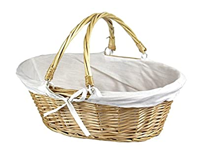 Vintiquewise(TM QI003055.WF Oval Willow Basket with Double Drop Down Handles