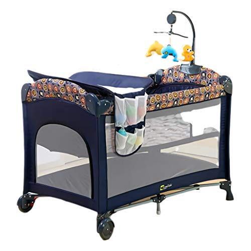Why Choose TangMengYun Safety Baby Bed with Fence Cot Crib Foldable Easy to Carry Multi Function Travel Children's Bed Cradle Bed Game Bed (Color : Multi-Colored)