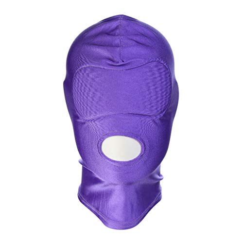 Evaliana Halloween Party Costume Hood Face Mask Blindfold Head Mask Open Eye Mouth, Purple Open Mouth, Large