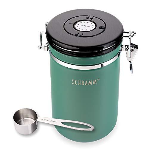 Schramm® Kaffeedose 1800 ml in 10 Farben mit Dosierlöffel Höhe: 18cm Kaffeedosen Kaffeebehälter aus Edelstahl, Farbe:Grün