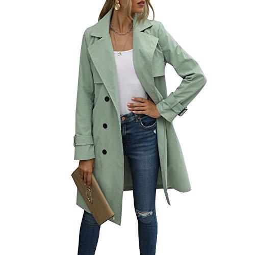 Gabardina de Doble Botonadura para Mujer con Blet Abrigo de Solapa Medio Largo clásico Abrigo clásico de otoño Invierno (Green, L)