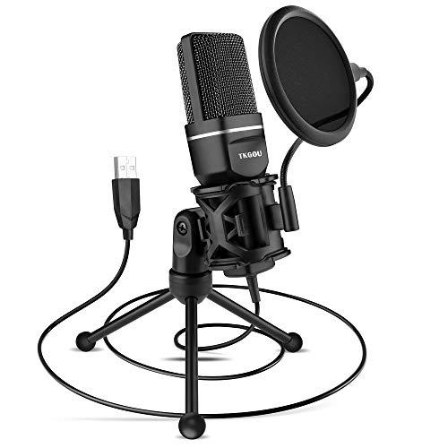 USB Mikrofon, PC Computer Kondensator Mikrofon, Gaming Mikros Plug & Play mit Ständer & Popfilter, für Skype, podcast, studio, streaming, broadcast, youTube, video, recorder (iMac/Windows/Laptop)