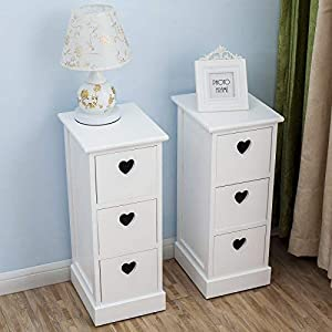 mecor Double Set of Two Bedside Tables Nightstands, Fully Assembled