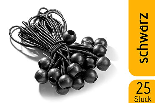 fuxton 25 Profi Spanngummi mit Kugel (schwarz 195 mm) für Zelte, Planen, Plakate. Planenspanner, Expanderschlingen, Planenhalter, Planengummi, Gummispanner, Zeltgummi