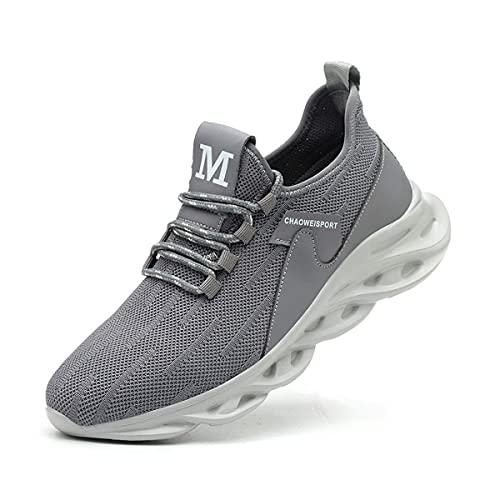 Aingrirn Zapatos de Seguridad con Punta de Acero para Hombre Mujer, Transpirable Ligeras Zapatos de Trabajo Antideslizante Construcción Zapatos (Color : Grey, Size : 39 EU)