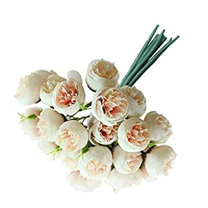 m·kvfa 27Heads Artificial Flower Camellia Rose Bouquet Silk Fake Flower Decorations for Wedding Party Home Hotel Office Garden Craft Art