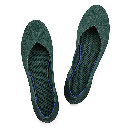 Frank Mully Women's Ballet Flat Shoes Knit Dress Shoes Round Toe Slip On Ballerina Walking Flats Shoes for Woman Low Wedge Comfort Soft Green