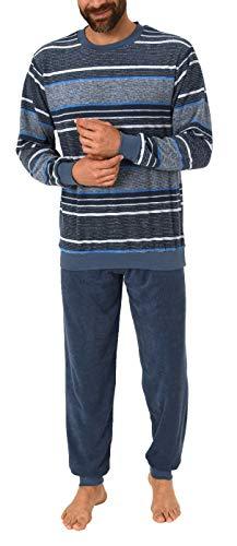 Herren Frottee Pyjama lang Schlafanzug mit Bündchen, auch in Übergrößen - 291 101 93 702, Farbe:Marine, Größe2:58