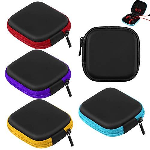 Bolsa para auriculares (5 unidades), funda portátil para auriculares, cable USB, disco U y mini artículos, color rojo, negro, azul, morado y amarillo
