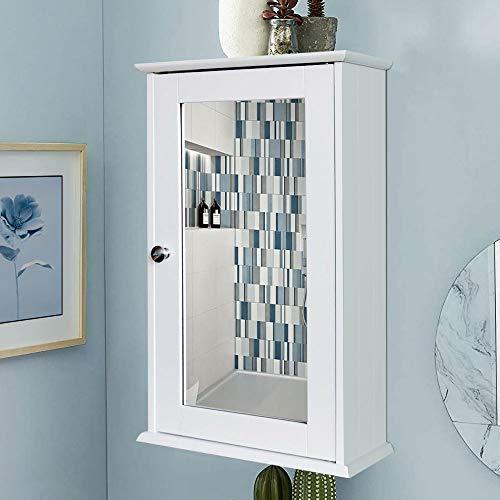 BAKAJI Mueble Espejo de Pared para baño con Espejo de Madera, 1 Puerta, Blanco, única