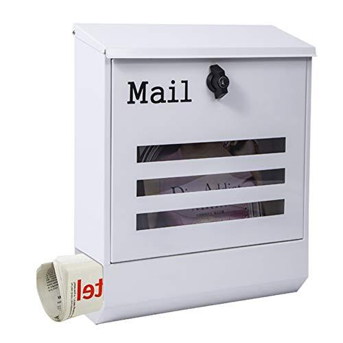 Briefkasten Wandbriefkästen Draussen Weiß Briefkasten, An Der Wand Montiert Briefkasten Post Box mit Tastensperre Zeitungsbox, Abschließbar Briefkasten für Outdoor School Office Home Mail Center