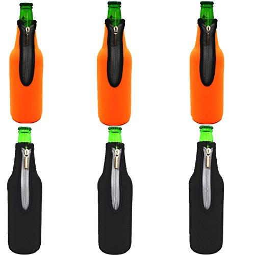 AF-WAN Bierflasche Sleeve Keep Bier Softdrink Wasser Cool Insulated Neopren mit faltbaren Reißverschluss 6 Pack 19,4 Oz (550ML) (3 Schwarz + 3 Orange)