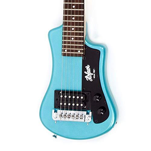 Hofner Shorty Guitar - Blue Shorty Full Sized Neck Travel Electric Guitar w/ Gigbag