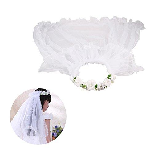 BESTOYARD Velas de Primera Comunión de Las Muchachas Velos de la Flor Corona de la Flor de la Boda de la Guirnalda (Blanca)