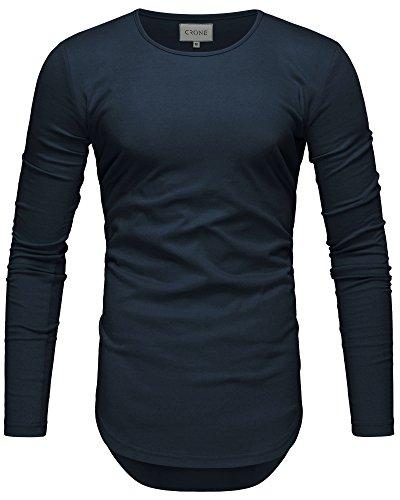 Crone Herren Langarm Shirt Longsleeve Slim Fit T-Shirt Leicht Oversize Basic Sweatshirt in vielen Farben (L, Navy Blue)