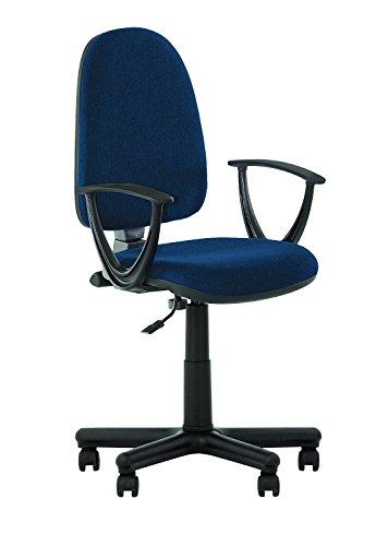 Sedia ergonomica Prestige II, da ufficio, con schienale reclinabile. Seduta regolabile, schienale regolabile.Con braccioli.Capacità di carico: 130 kg.-In tessuto.Braccioli smontabili. blu