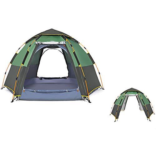 Camping Tent Waterdicht 5-8 Persoons Pop-Up Tenten -Automatische Dubbellaags Man Familietenten Waterdicht Voor Backpacken Picknick Wandelen 111.4 X 111.4X66 Inch,Green