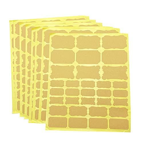 256 unidades / 8 hojas de etiquetas autoadhesivas de papel kraft kraft en blanco, etiquetas DIY para botellas, tarros de conservas, decoración de regalo, álbum, diario, scrapbook DIY (fuerza)