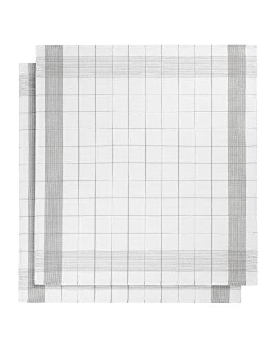 De Witte Lietaer 200064 Mixte Lot de 2 Torchons Lin/Coton Gris 68 x 68 cm