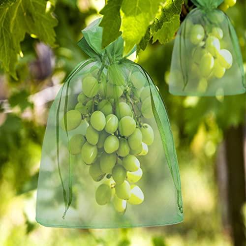 Secwell 60 Piezas Bolsa para Uvas con Cordón Malla de Protección para Frutas Mallas para Control de plagas y protección de Plantas (20x30cm,17x23cm)