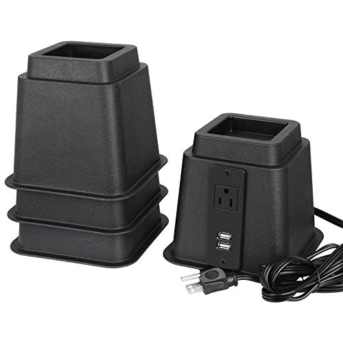 CCLD2E Bed Risers with USB Ports and Power Outlet 5 inch Furniture Lifters Heavy Duty 1375lbs Capacity for Dorm Bed Couch Chair Table Risers(Set of 4)