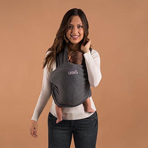 Babytragetuch | Babytrage | 100% Bio-Baumwolle | Tragetuch | Für Neugeborene Bis 15kg | Aus Europäischer Herstellung | Atmungsaktiv | Ohne Künstliches Elastan | Von Laleni (Grau) - 4