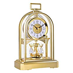 CAO-Decor Tone Mantel Clock, Crystals Mantle Clocks with Rotating Pendulum, Mechanical Quartz Silent Desk Table Shelf Clock, Stylish Rhythm Matle Ornaments Clock, 16.327.3cm,a