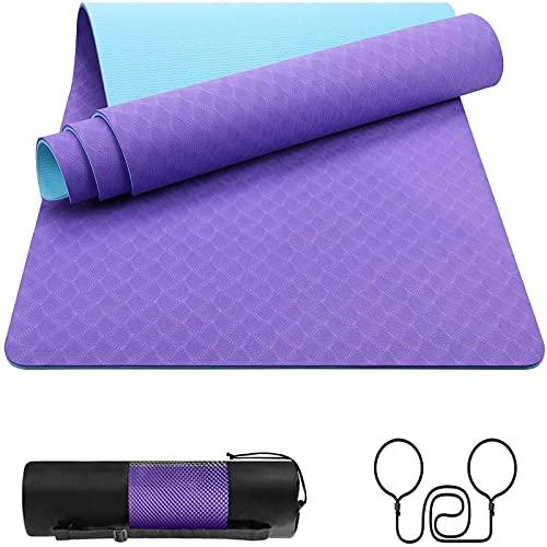 BOYISI Esterilla de yoga antideslizante para gimnasio, hecha de polietileno respetuoso con el medio ambiente, alfombrilla de fitness de 6 mm de grosor, esterilla de yoga (color: lila/azul)