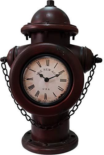 DynaSun Art Hydrant 35,5 x 15,5 x 34 cm Reloj con forma de hidrante de mesa de metal vintage estilo retro decoración casa salón cocina efecto antiguo