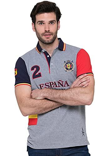 Valecuatro Polo Camiseta Bandera España, Polo de Hombre 100% Algodón