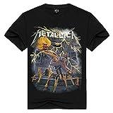 T-shirt Metallica - Maglia - Maglietta - Uomo - Ragazzo - Maniche corte - Rock - Punk - Hard - Logo - Gruppo Musicale - Chitarra elettrica - Scheletro - Colore Nero - Taglia XXXL
