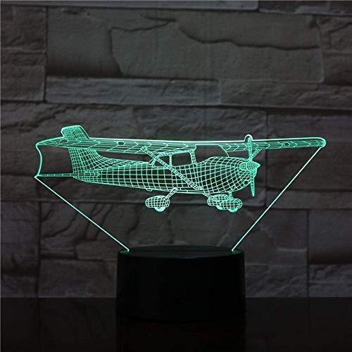 Veilleuse 3D avec télécommande Avion Acrylique Led 3D Veilleuse Jouets Lampe Air Avion Modèle USB Table Lampe de bureau pour Kid Friend Christmas Birth Gift_7 Couleurs modifiables.