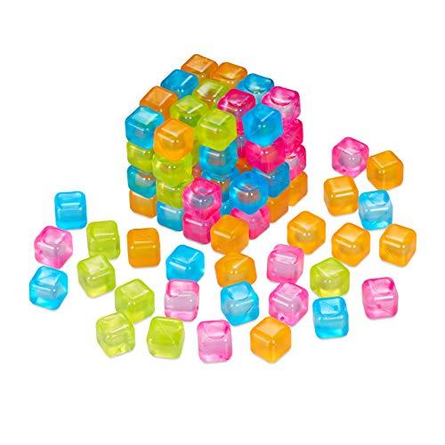 Relaxdays Cubetti di Ghiaccio Riutilizzabili, Set da 100, Ghiaccio Refrigerante in Plastica, Cocktail, Feste, Multicolore