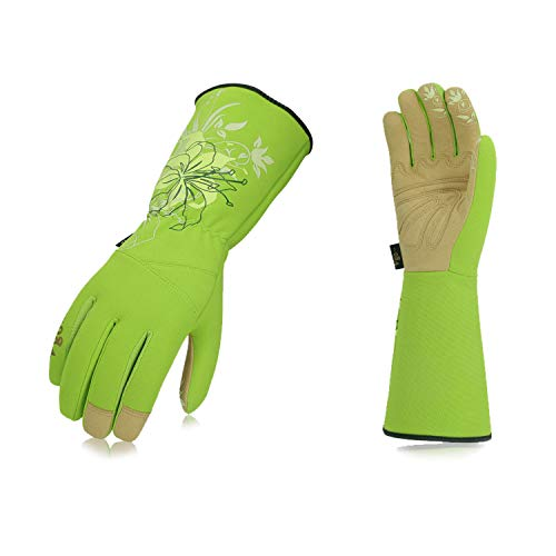 Vgo 1-Pair Ladies' Synthetic Leather Gardening Gloves, Long Sleeves Gauntlet, Breathable & Grip Work Gloves, High Dexterity, Washable (Size M, Green, SL7445)