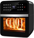 Nictemaw Freidora de aire caliente, horno 12 L, XXL, freidora digital, minihorno Airfryer con programas, deshidratador 1800 W, precalentar y mantener sin aceite, BPA
