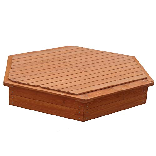 Large Hexagonal Wooden Sandpit (With Lid)