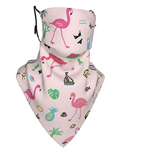 Hawaii Beach Flamingos Face Mask Reusable Women Cute Design Bandanas Neck Gaiter for Men Outdoor