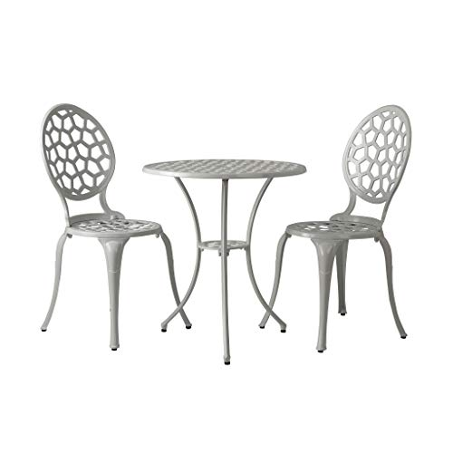 Patio Sense Vashon Bistro Set | 3 Pieces | Round Table and 2 Chairs | Cast Aluminum Construction | Gloss White Finish | Ideal for Outdoor Seating, Porch, Lawn, Garden, Backyard, Pool, Deck, Balcony