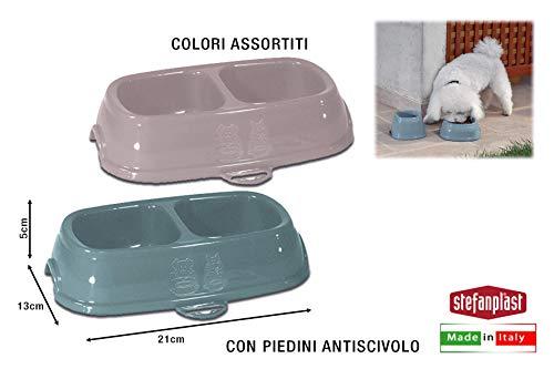 Kerbl 80519 Kunststoff Doppelnapf, 2x200ml, Farblich Sortiert, 12 Stück