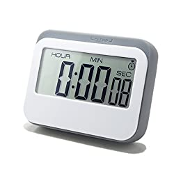LeisureLife - Digital Timer Multifunction Large LCD. 4 modes-Clock Countup Countdown Alarm. Exact to second. For Kitchen Study Games Time Management. Gray