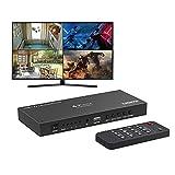 Conmutador HDMI Multiviewer 4x1, PORTTA HDMI Quad Multi-Viewer Seamless Switcher 4 en 1 Salida con Loop, Extractor de Audio a Estéreo, Coaxial, Óptico, 1080p, 5 Modos