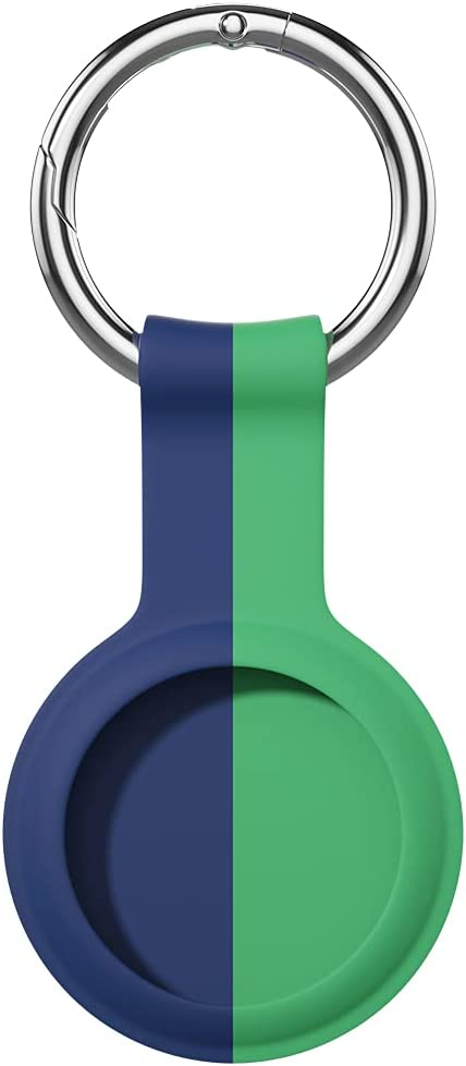 AWINNER Compatible for AirTag Case Keychain Accessories ,Silicone Protective Cover Secure Holder with Key Ring (Green/Blue)