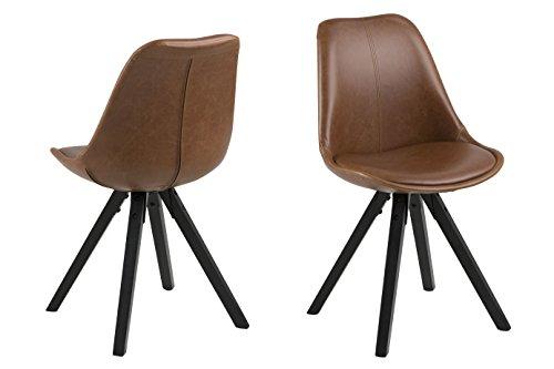 Amazon Brand - Movian Arendsee - Juego de 2 sillas de comedor, 55 x 48,5 x 85cm, marrón
