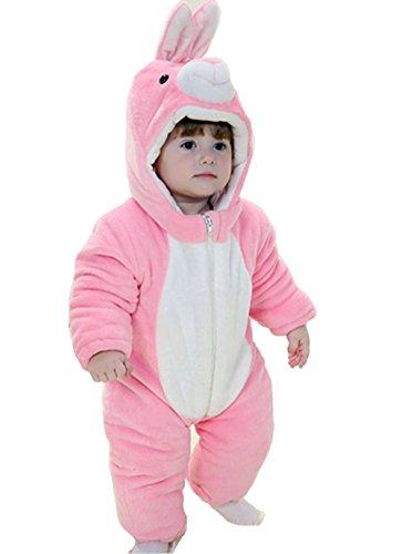 OHmais Bébé Fille garçon Unisexe Grenouillère Costume Deguisement Combinaison Pyjamas Hiver Lapin Rose